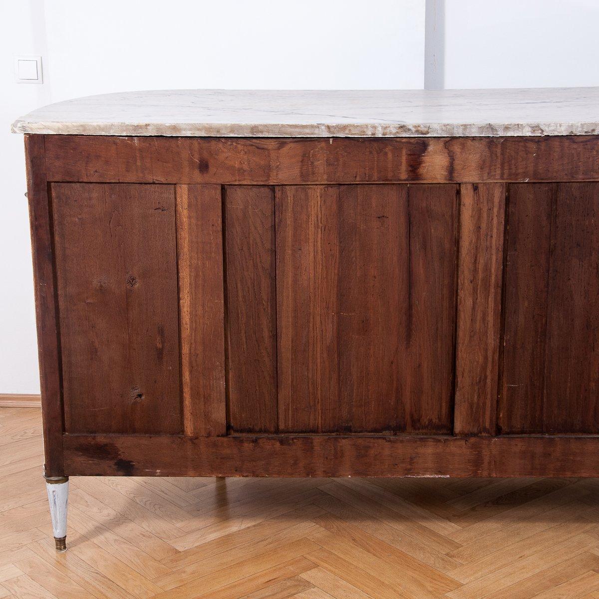 antike franz sische halbmond kommode mit carrara. Black Bedroom Furniture Sets. Home Design Ideas