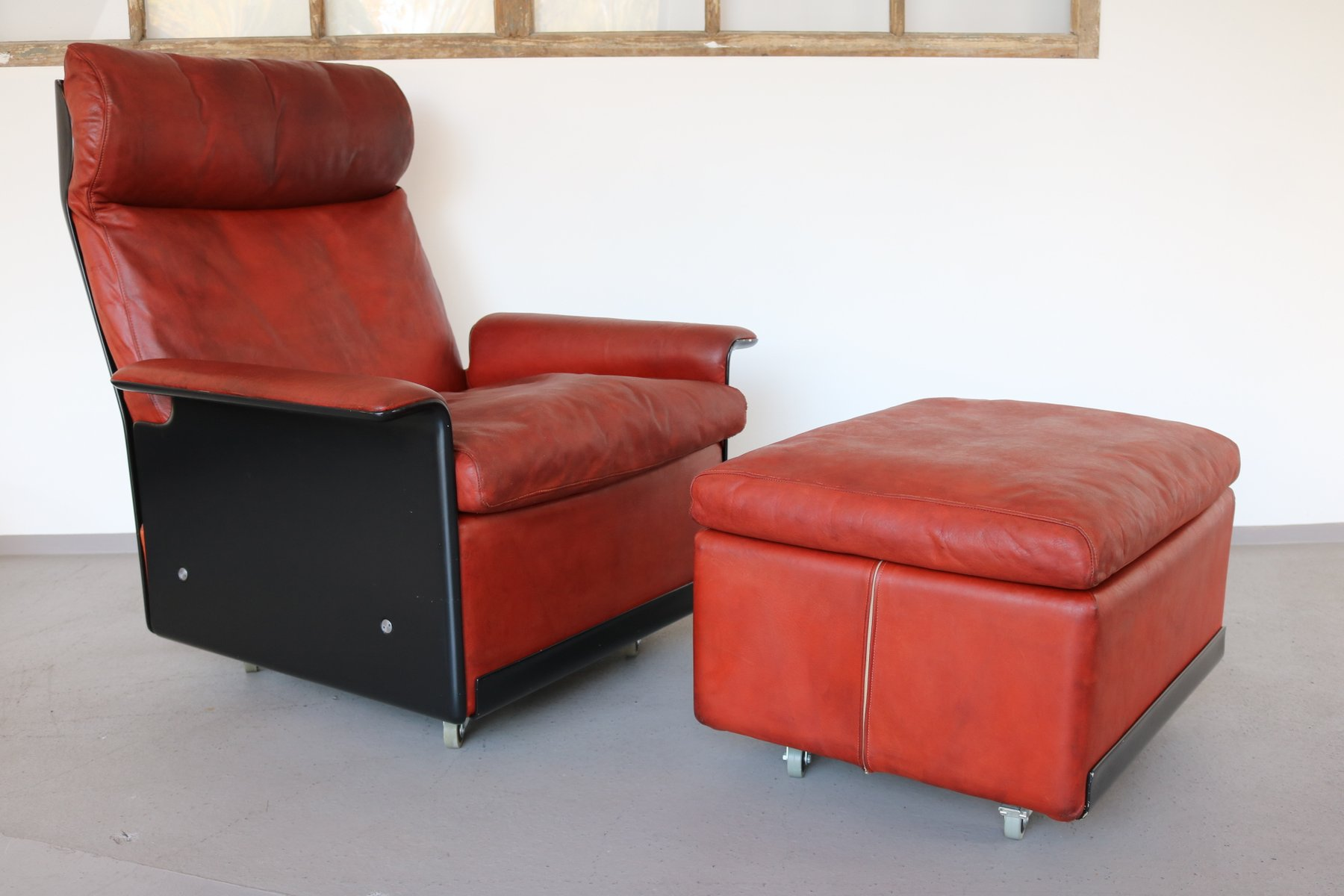 620 Highback Leather Lounge Chair U0026 Ottoman By Dieter Rams For Vitsoe, 1960s