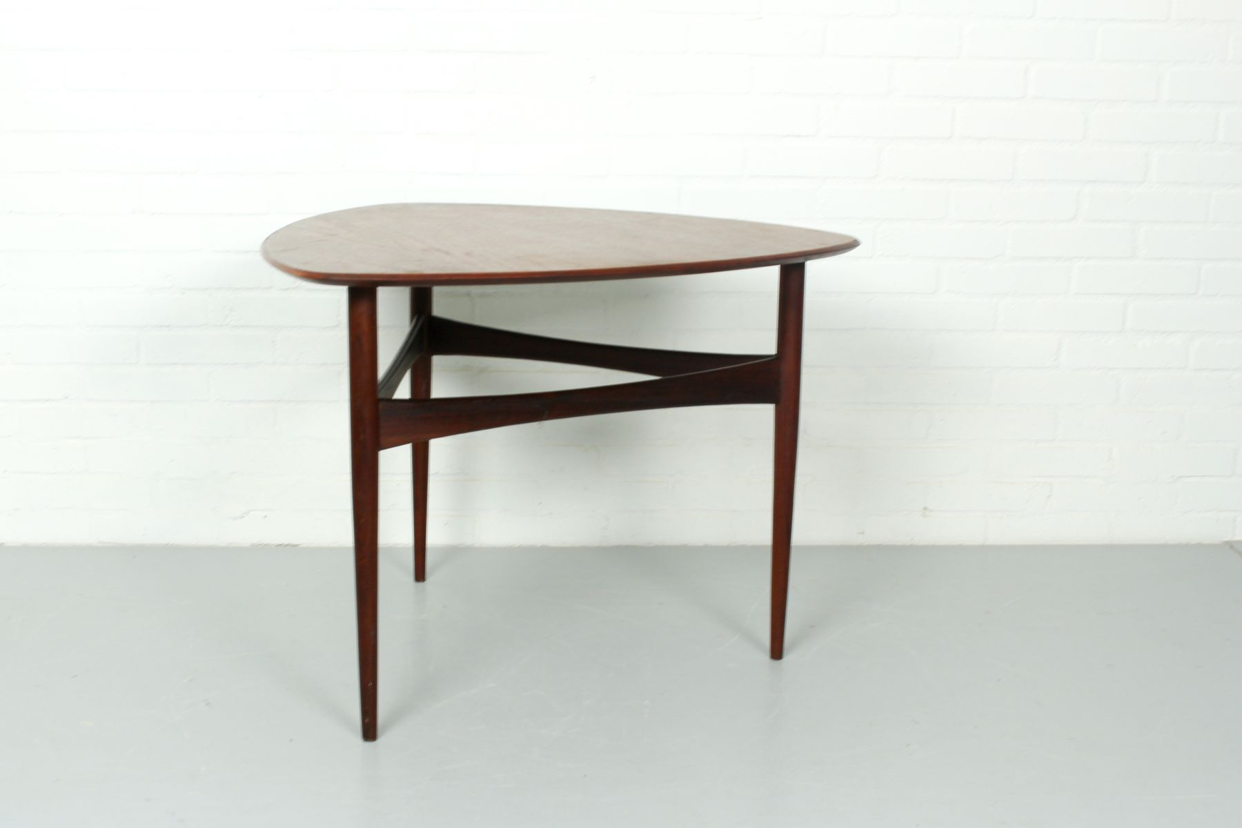 Vintage Danish Teak Side Table with a Triangular Top for sale at