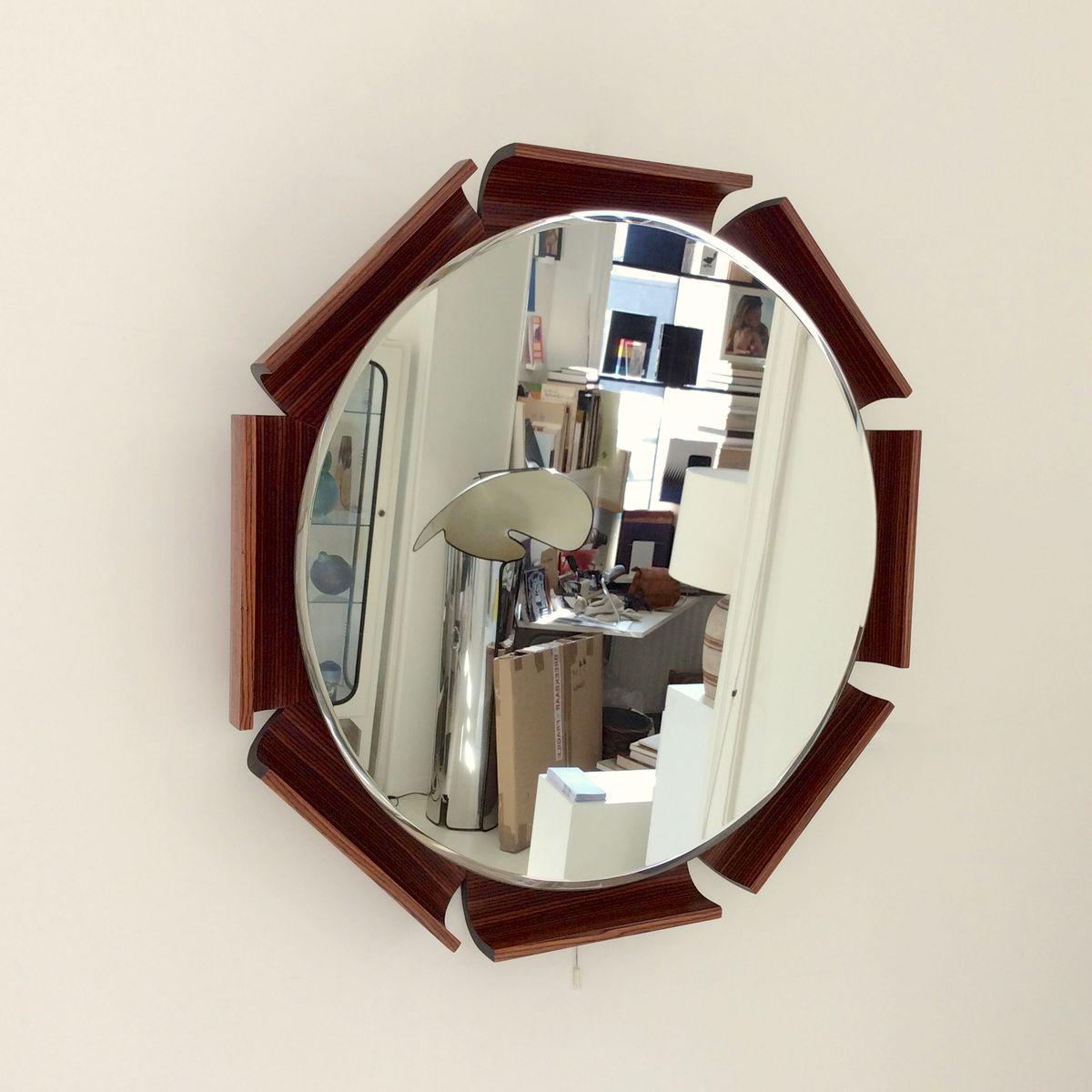 achteckiger beleuchteter spiegel aus palisander 1960er bei pamono kaufen. Black Bedroom Furniture Sets. Home Design Ideas