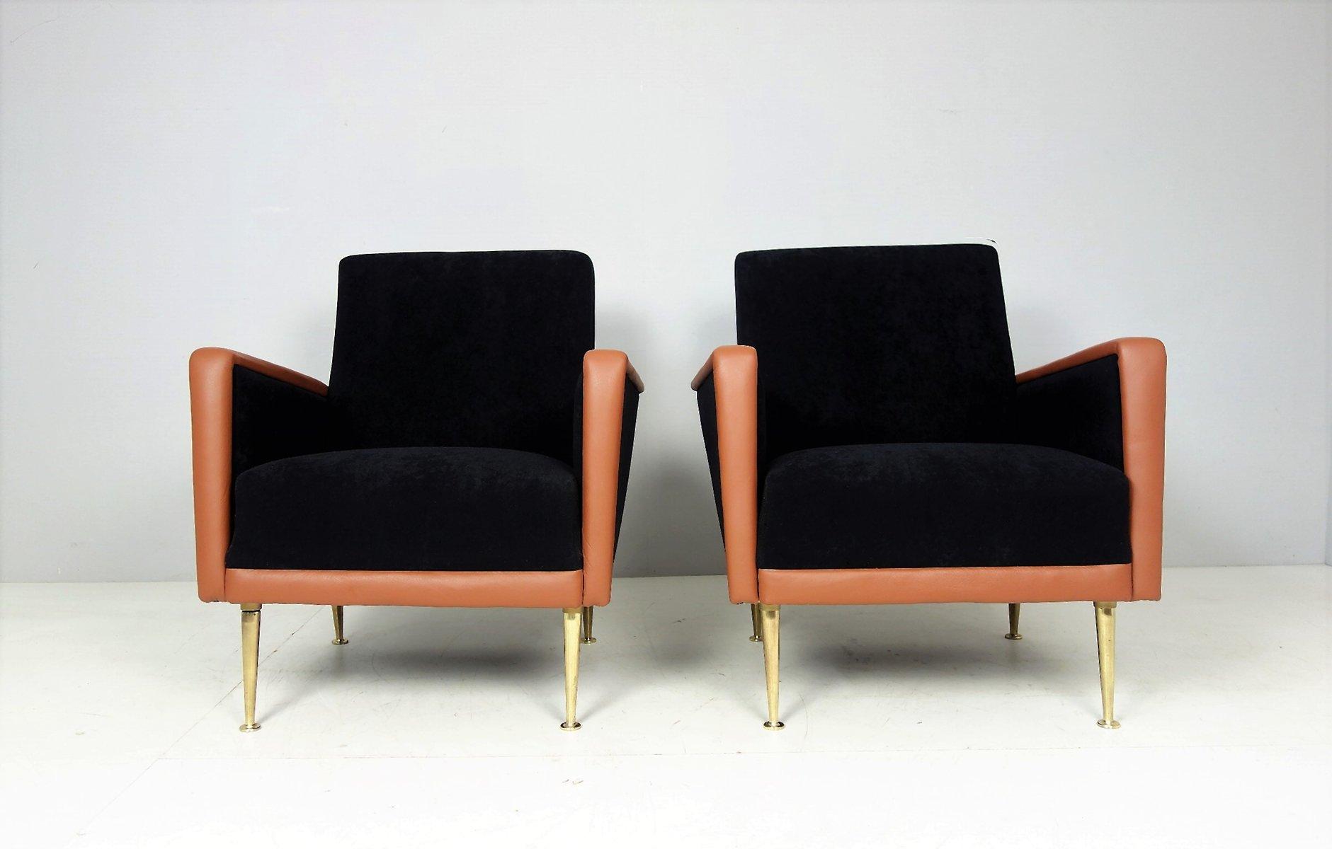 Italienische vintage sessel aus leder stoff 2er set bei for Sessel italienisches design