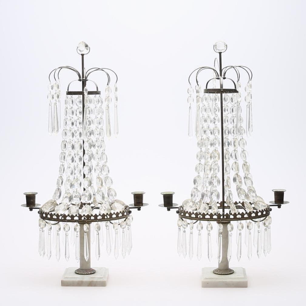 Antike Schwedische Prismen Kerzenleuchter, 2er Set