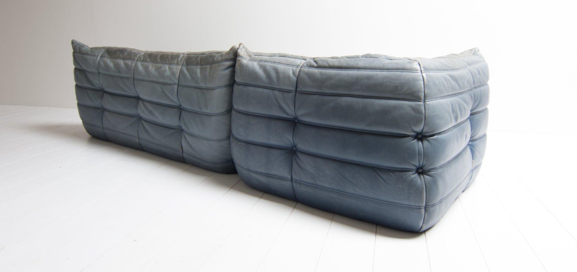 Wohnzimmergarnitur Leder blaue vintage togo leder wohnzimmergarnitur michel ducaroy für