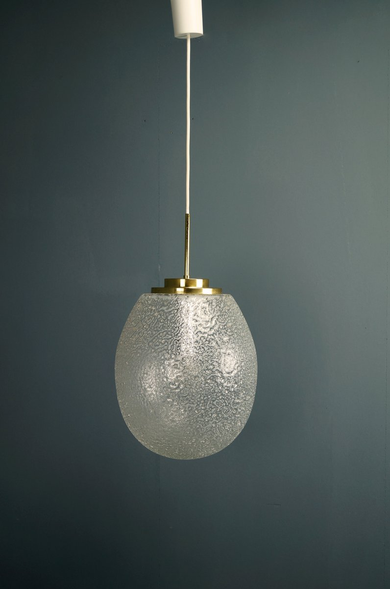 Large drop pendant light in ice glass from doria for sale at pamono large drop pendant light in ice glass from doria mozeypictures Gallery