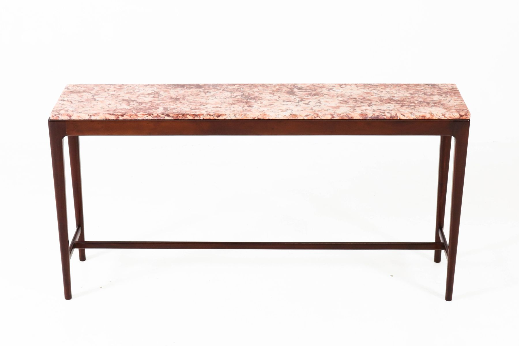 Delightful Mid Century Modern Danish Mahogany Console Table With Marble Top, 1960s