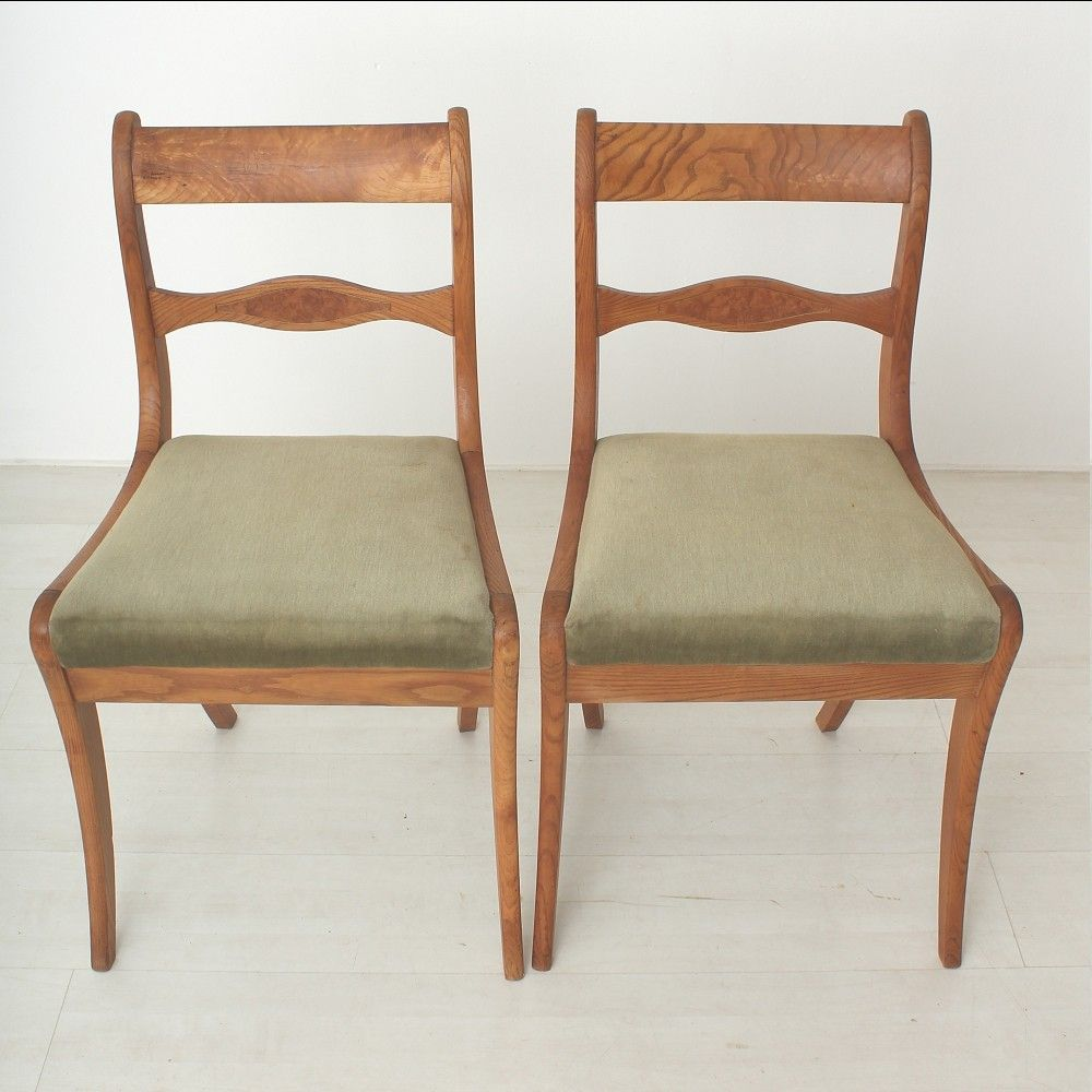 Wooden Chairs With Green Cushions 1900s Set Of 2