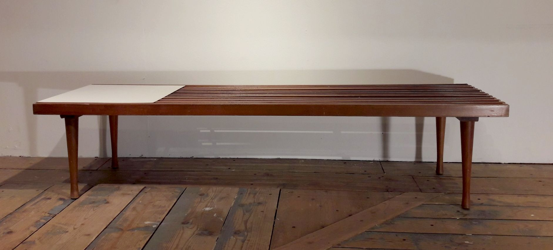 American Coffee Table in Latticed Wood and White Laminate 1960s for