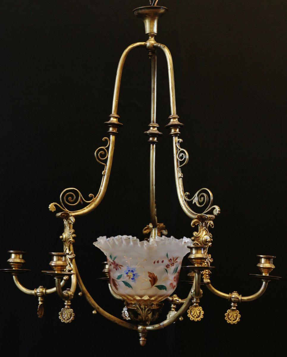 Antique spanish 6 armed gas chandelier 1850s for sale at pamono antique spanish 6 armed gas chandelier 1850s aloadofball Image collections