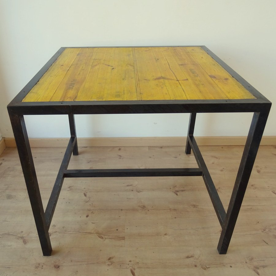 vintage metall und holz werktisch bei pamono kaufen. Black Bedroom Furniture Sets. Home Design Ideas