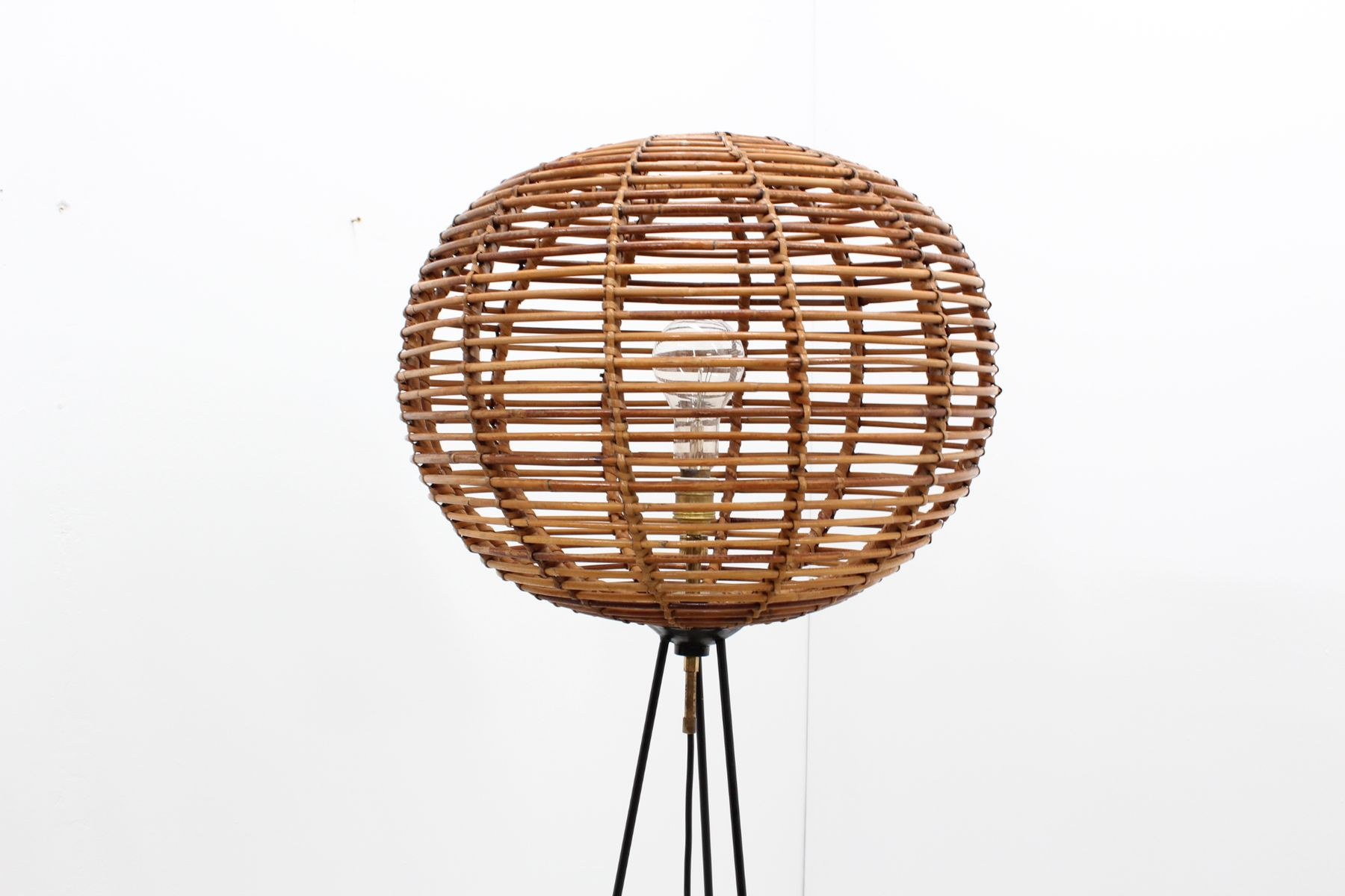 Mid century rattan floor lamp for sale at pamono mid century rattan floor lamp mozeypictures Choice Image