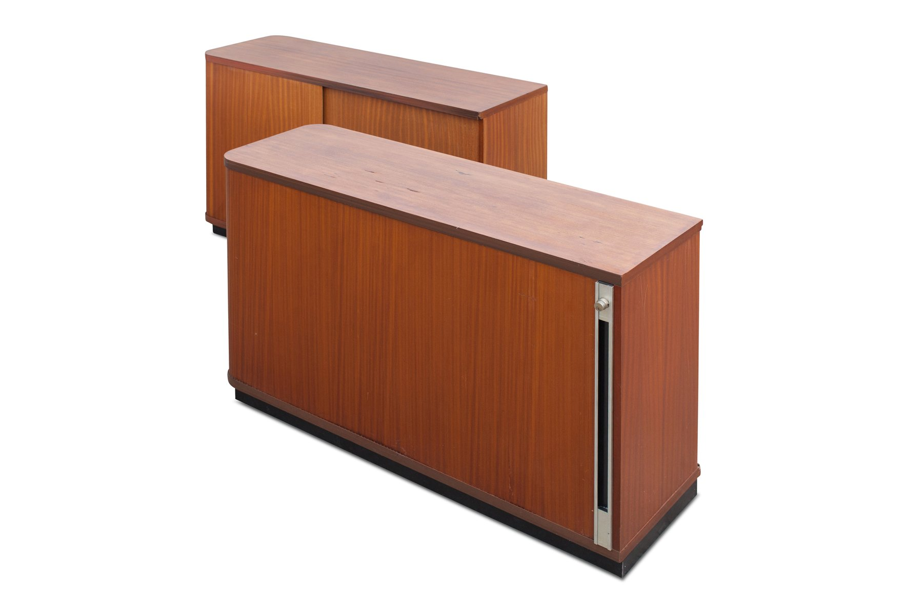 Vintage Office Cabinets With Tambour Doors Set Of 2