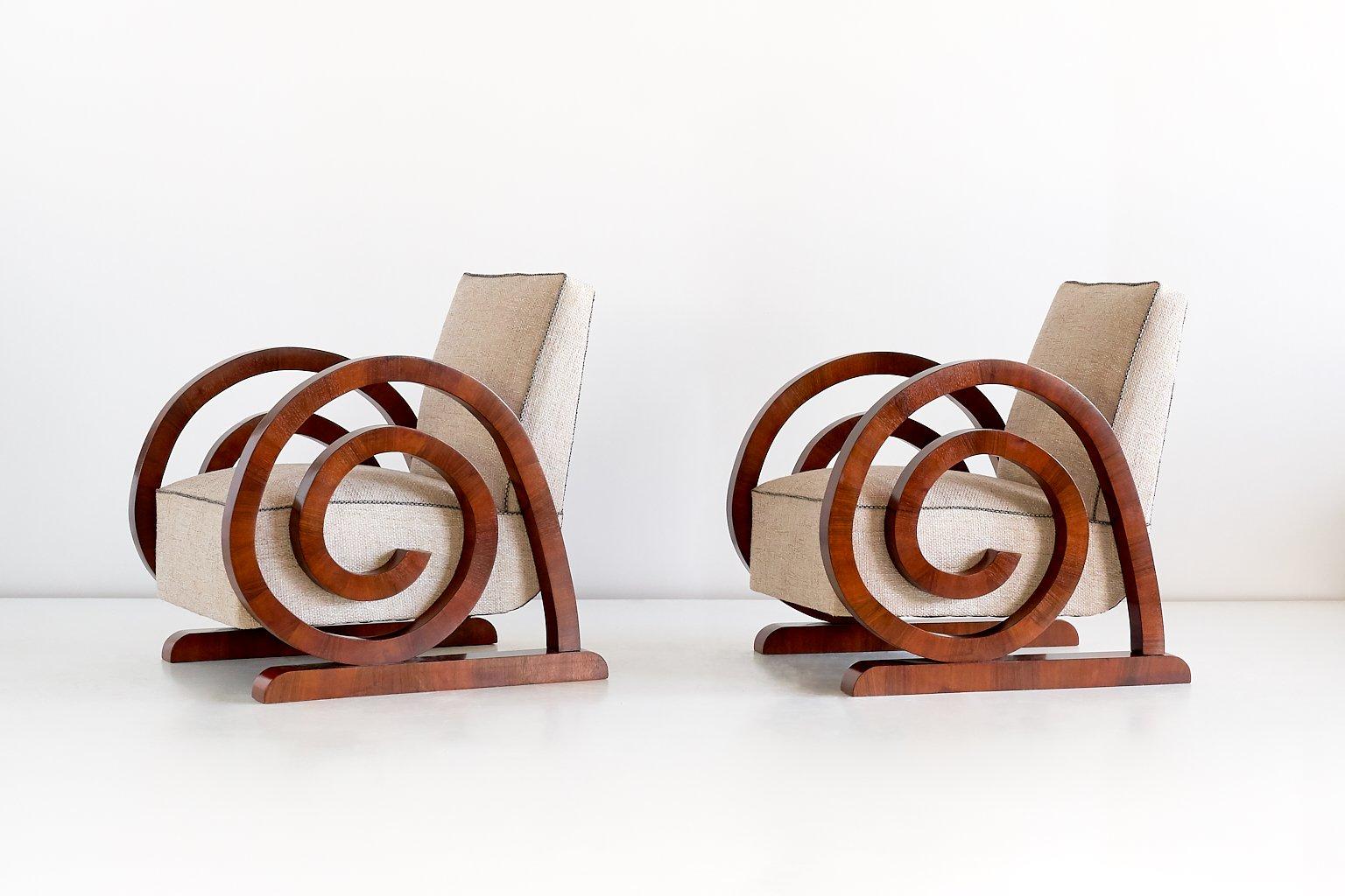 Art Deco Armchairs In Walnut Veneer 1930s Set Of 2 For