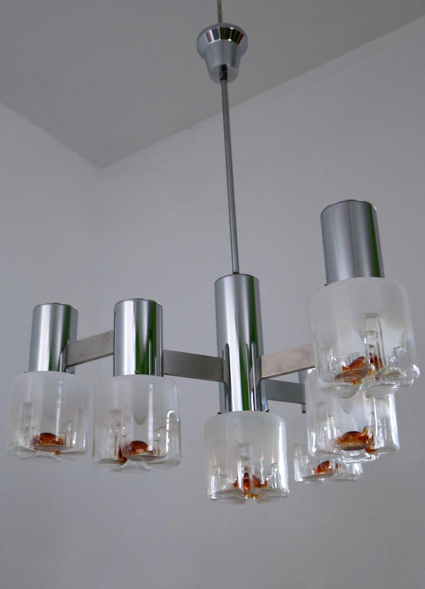 kronleuchter aus geblasenem glas metall von mazzega 1970er bei pamono kaufen. Black Bedroom Furniture Sets. Home Design Ideas