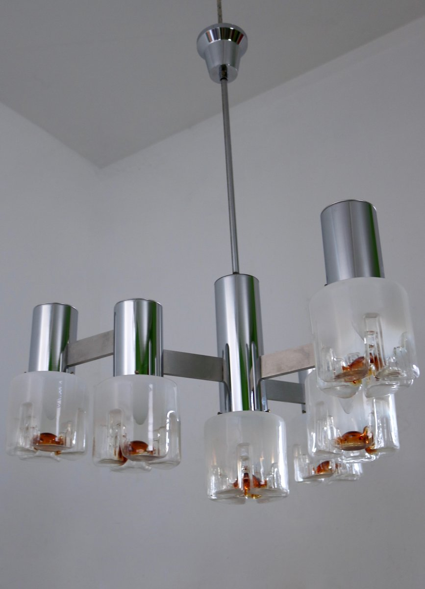 kronleuchter aus geblasenem glas metall von mazzega. Black Bedroom Furniture Sets. Home Design Ideas