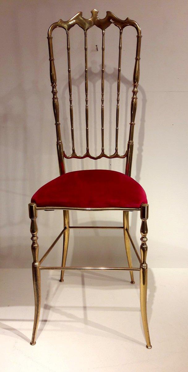 mid century messing stuhl mit hoher r ckenlehne bei pamono kaufen. Black Bedroom Furniture Sets. Home Design Ideas