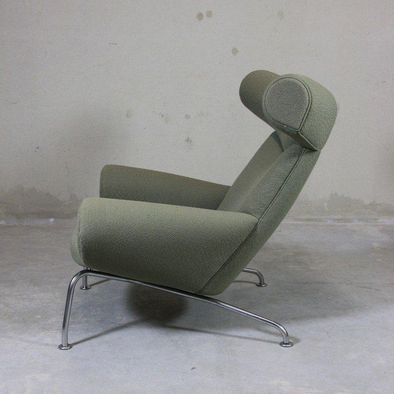 ej 100 ox sessel fu hocker von hans j wegner 1960 bei pamono kaufen. Black Bedroom Furniture Sets. Home Design Ideas