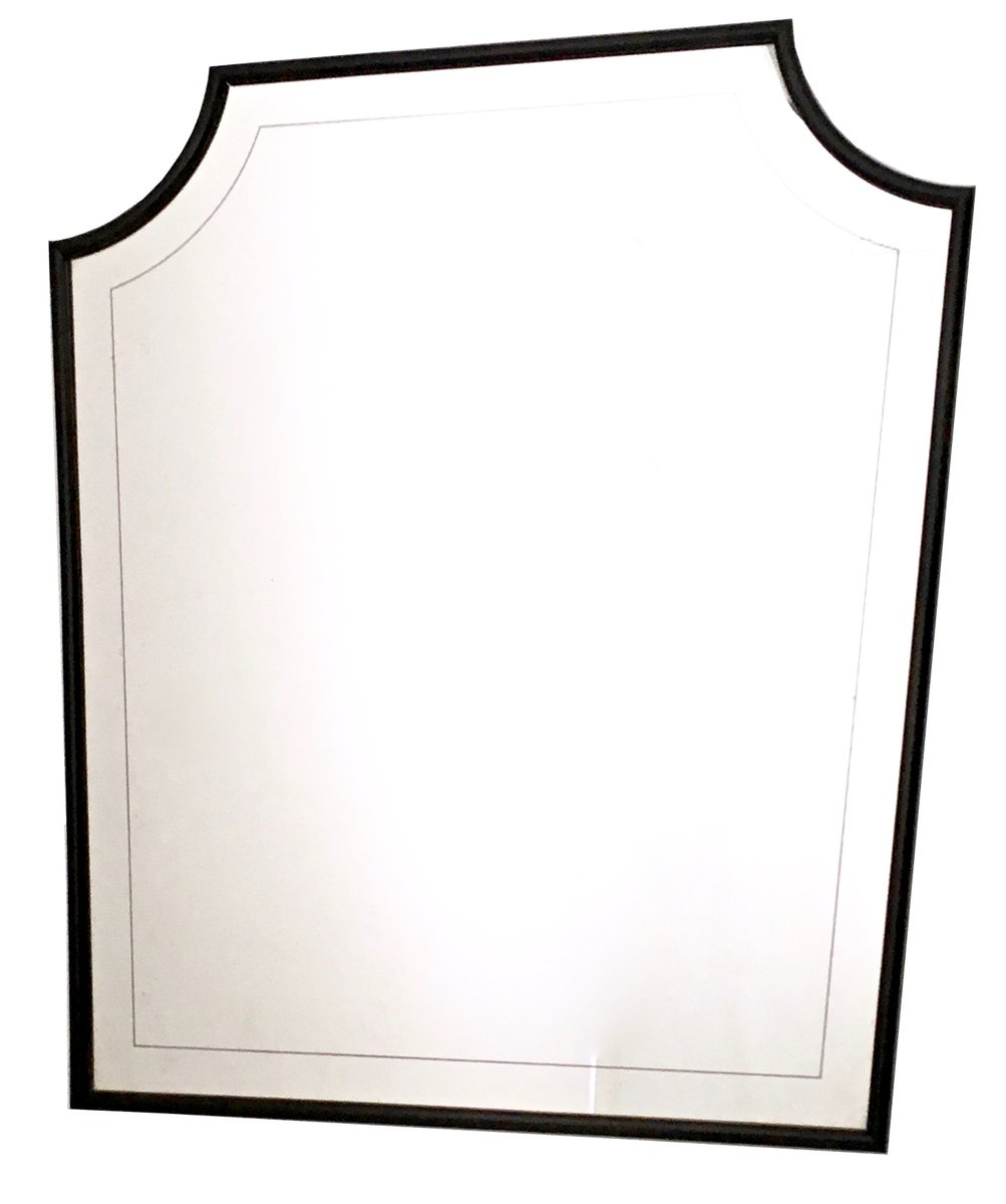 gro er gravierter wandspiegel mit holzrahmen 1940er bei. Black Bedroom Furniture Sets. Home Design Ideas