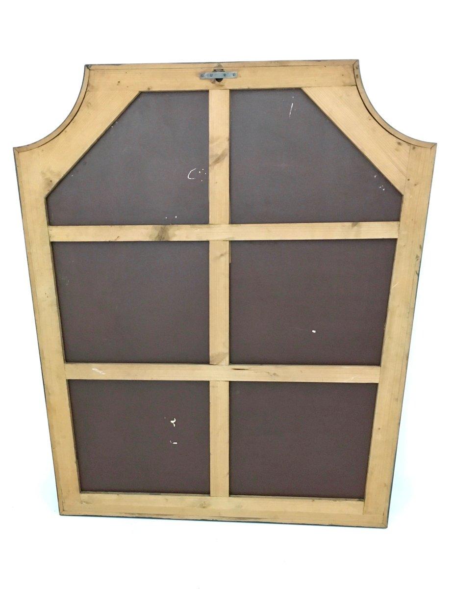 gro er gravierter wandspiegel mit holzrahmen 1940er bei pamono kaufen. Black Bedroom Furniture Sets. Home Design Ideas