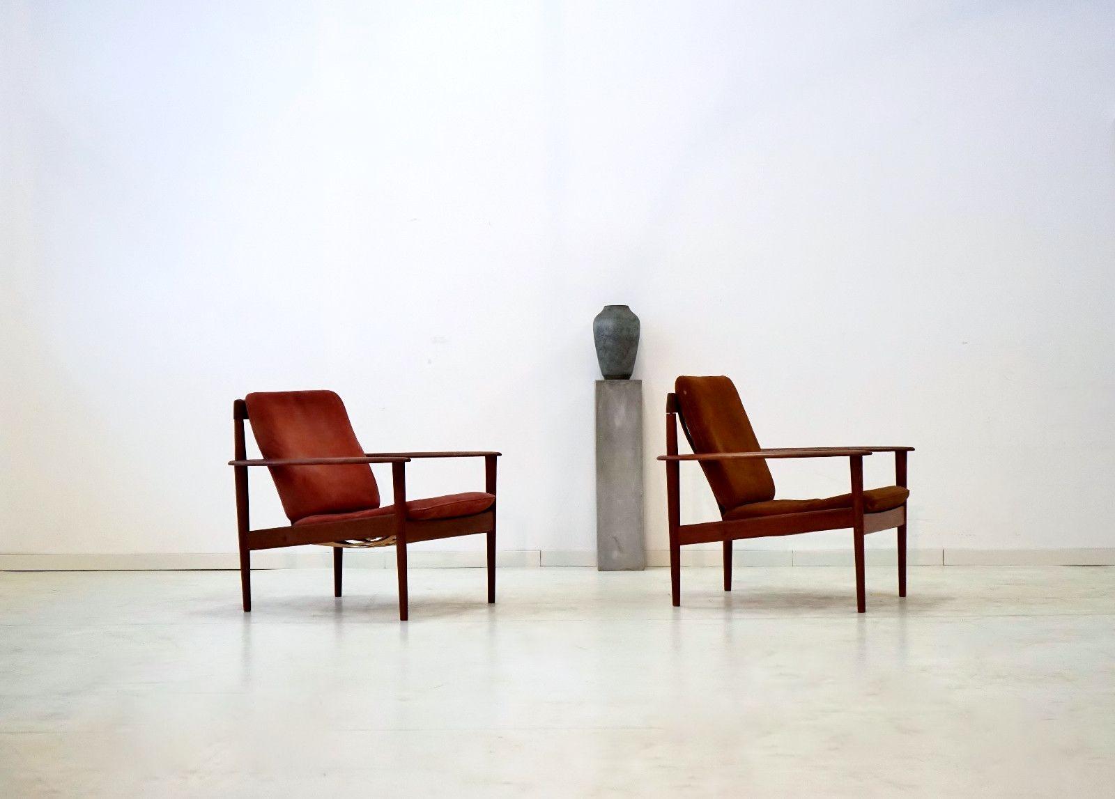 teak leder armlehnst hle von grete jalk f r poul. Black Bedroom Furniture Sets. Home Design Ideas
