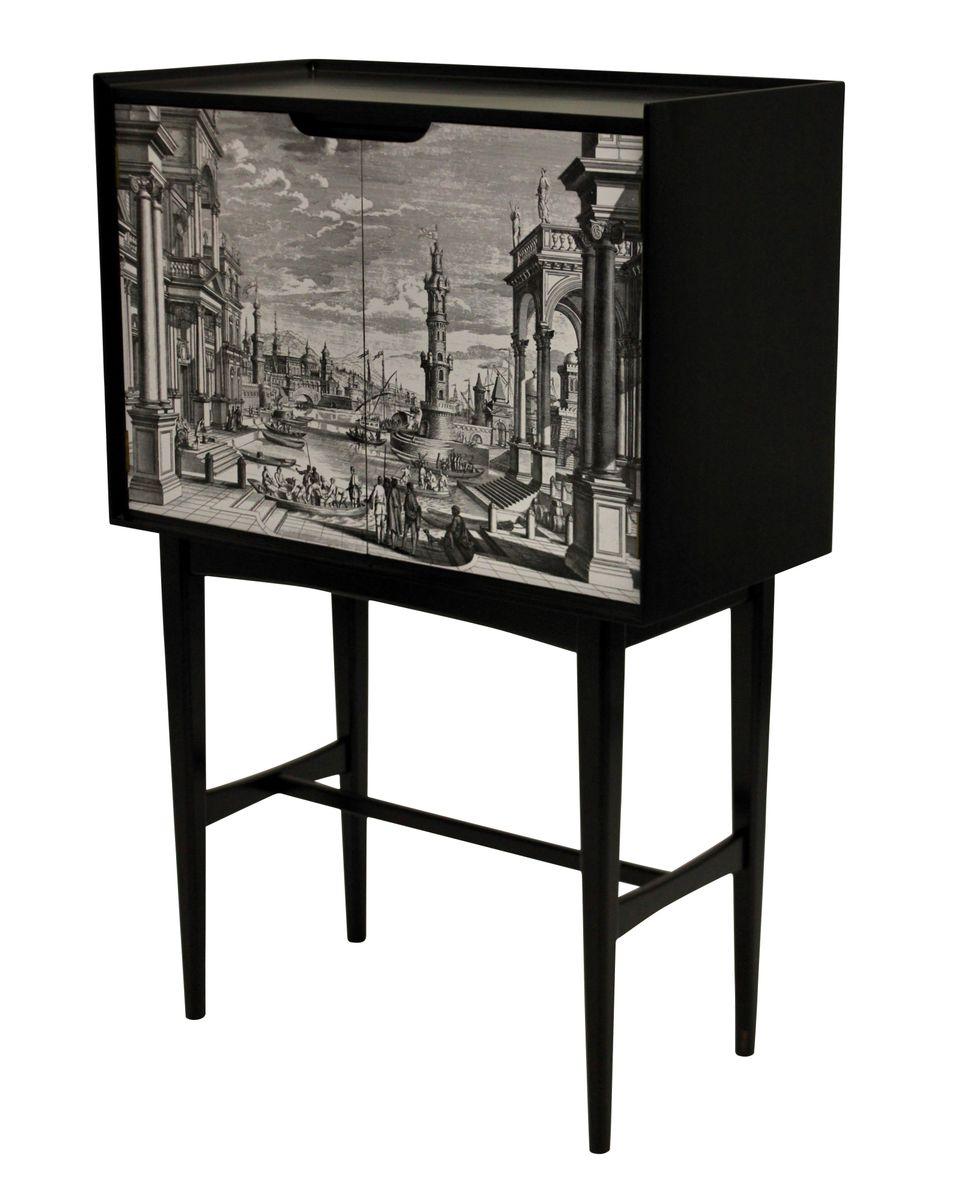 italienischer vintage barschrank mit venezianischer front bei pamono kaufen. Black Bedroom Furniture Sets. Home Design Ideas