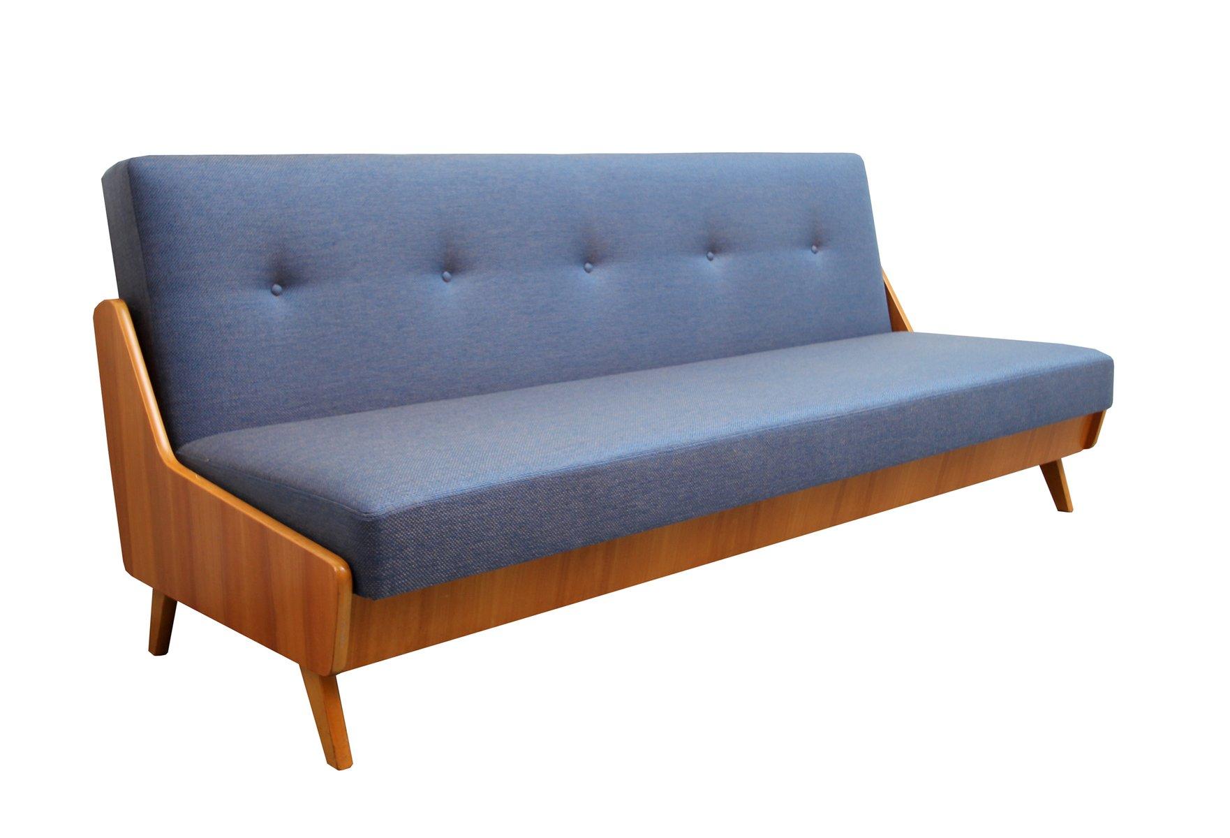Blaues Eschenholz Furnier Schlafsofa, 1950er bei Pamono kaufen