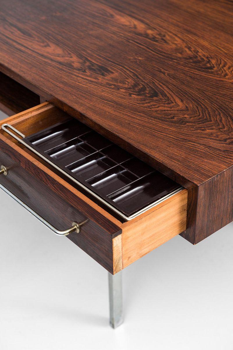 d nischer mid century palisander schreibtisch mit sideboard 1950er bei pamono kaufen. Black Bedroom Furniture Sets. Home Design Ideas