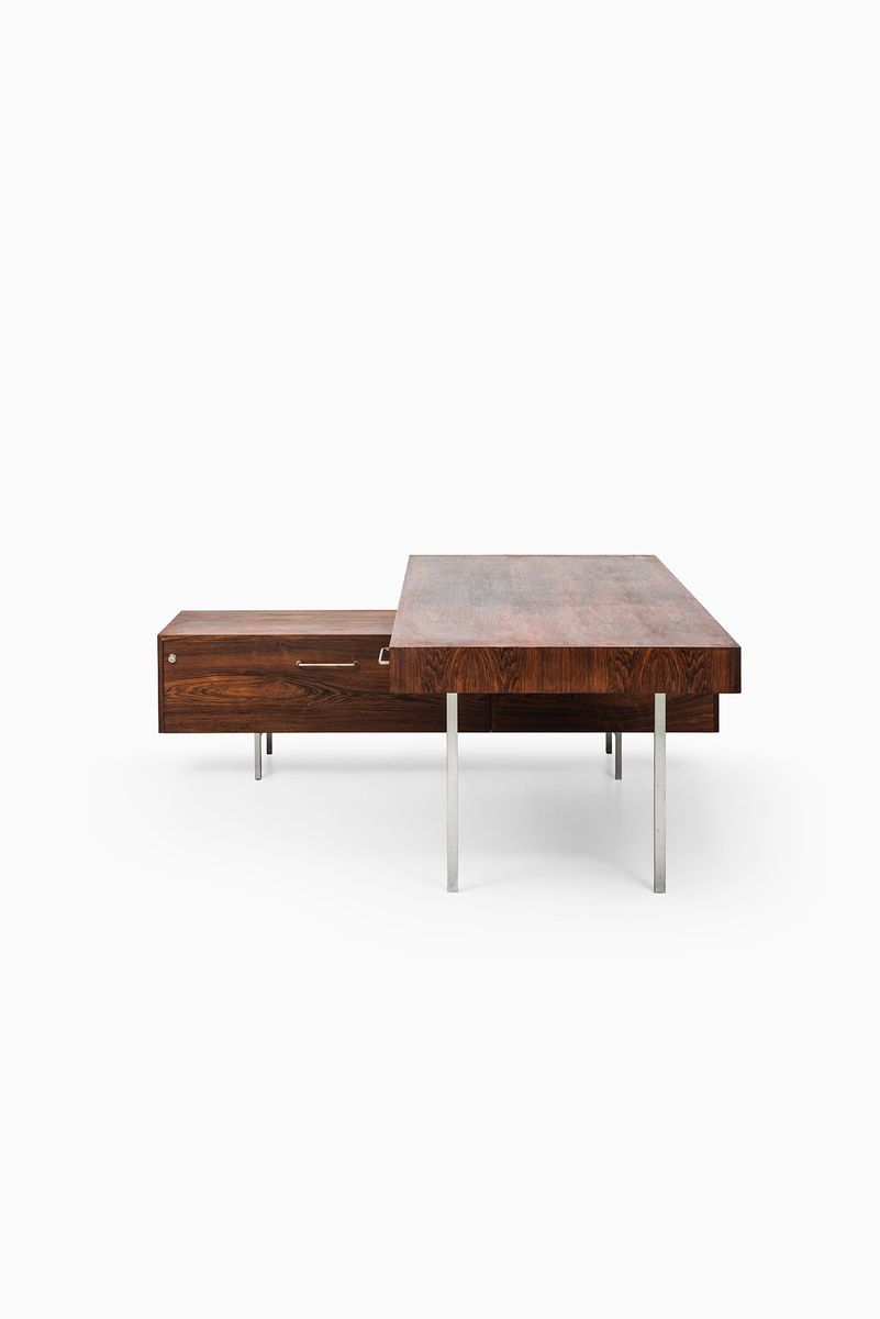 mid century danish rosewood desk with sideboard 1950s for. Black Bedroom Furniture Sets. Home Design Ideas