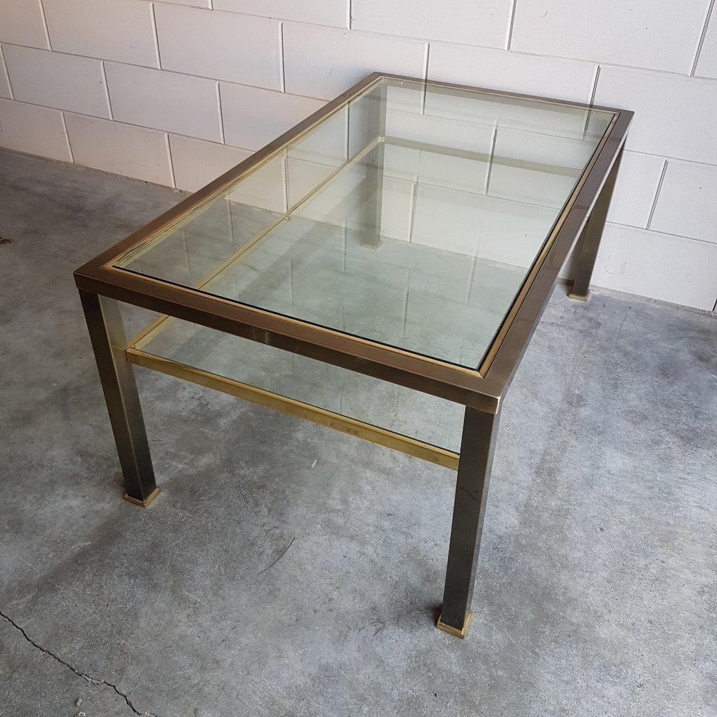 messing und glas couchtisch 1980er bei pamono kaufen. Black Bedroom Furniture Sets. Home Design Ideas
