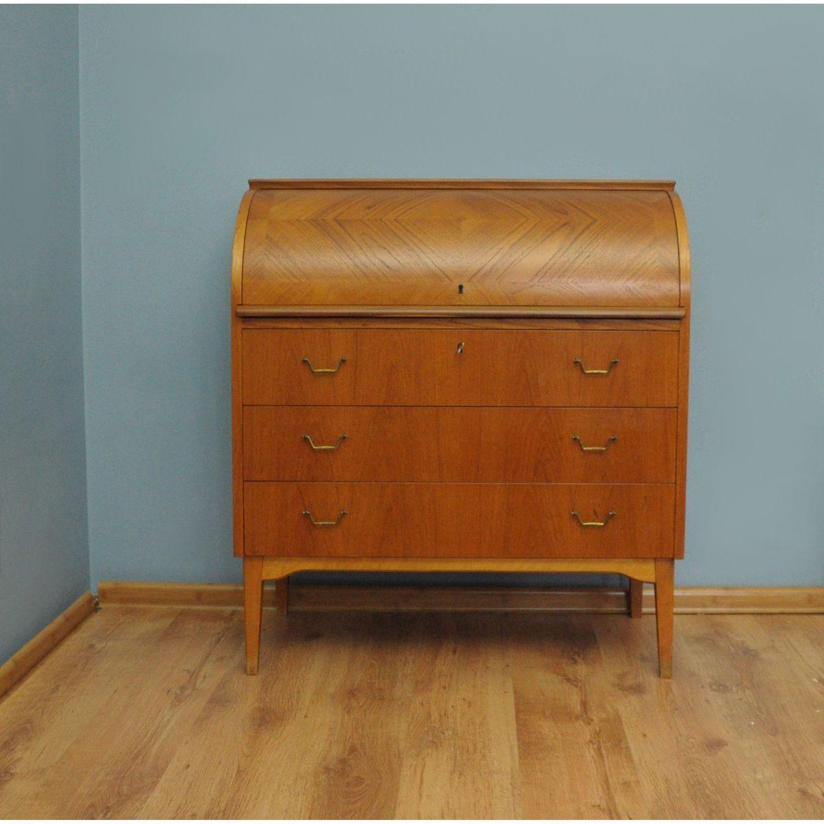 schwedischer mid century teak sekret r mit rollt r von ab br derna gustafssons bei pamono kaufen. Black Bedroom Furniture Sets. Home Design Ideas