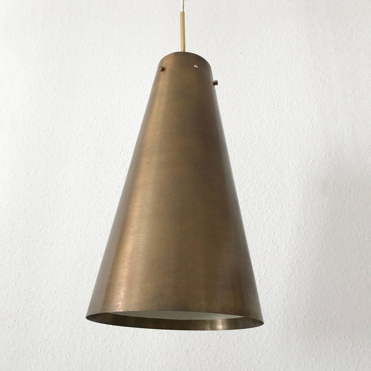 Large mid century modern brass pendant lamp 1950s for for Mid century modern hanging lamp