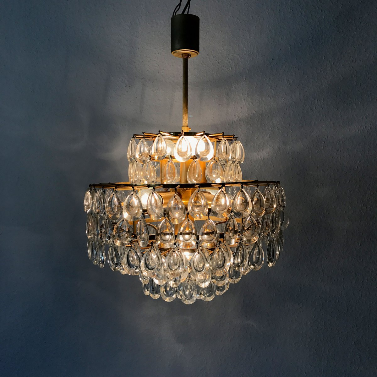 mid century kristall kronleuchter von palwa 1960er bei. Black Bedroom Furniture Sets. Home Design Ideas