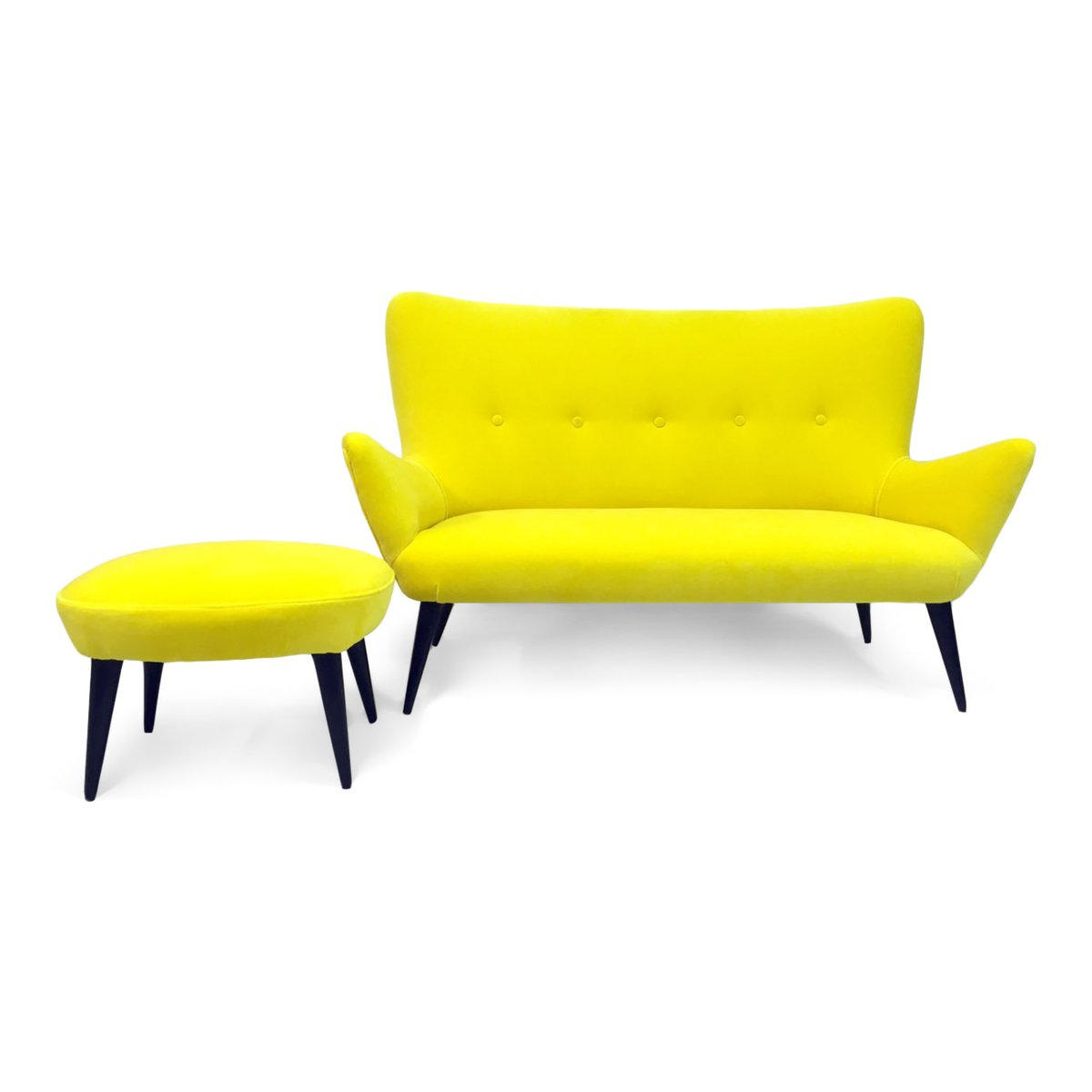 Italian Sofa and Stool in Yellow Velvet, 1950s, Set of 2 for sale at ...
