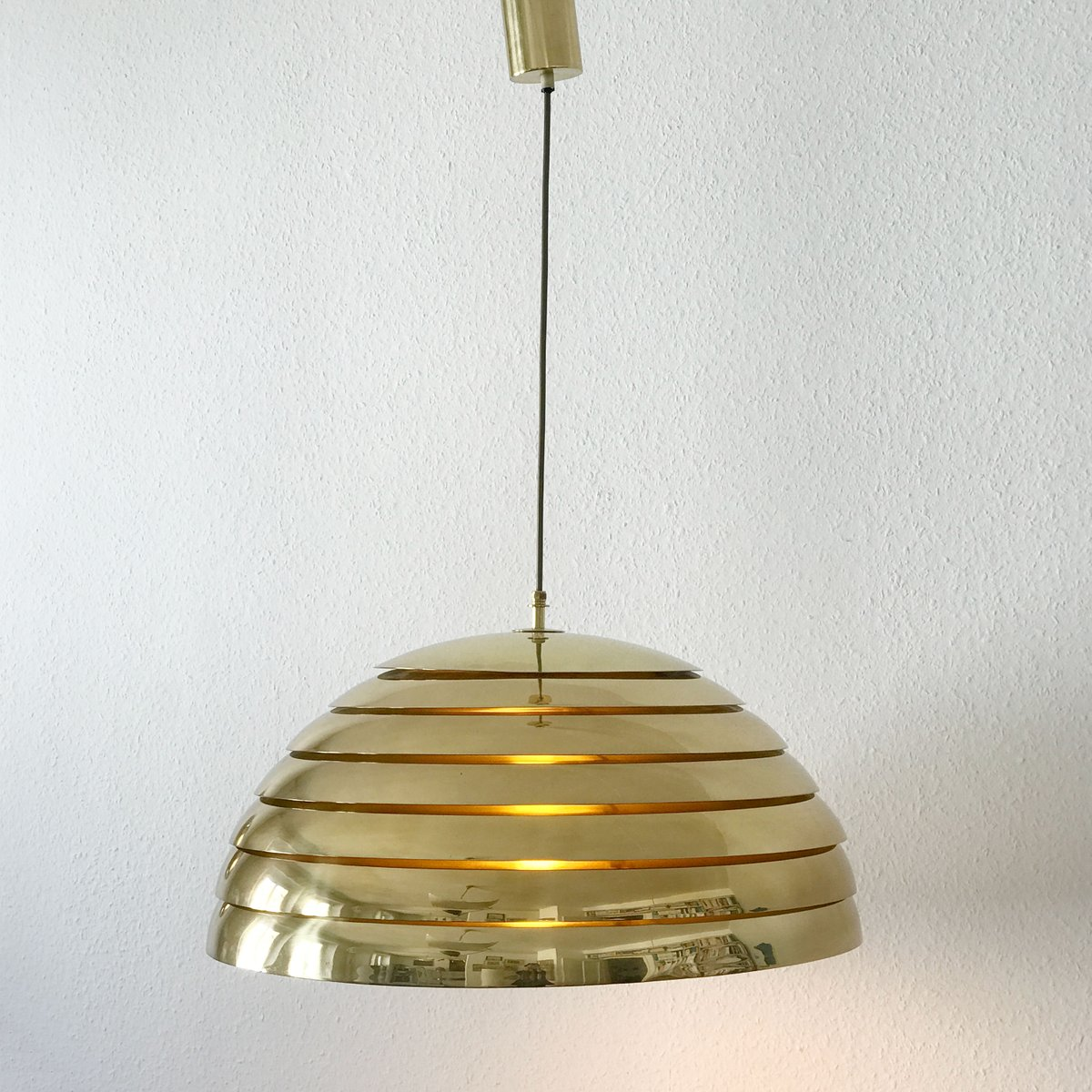 Large mid century modern brass dome pendant lamp from vereinigte large mid century modern brass dome pendant lamp from vereinigte werksttten collection aloadofball Gallery