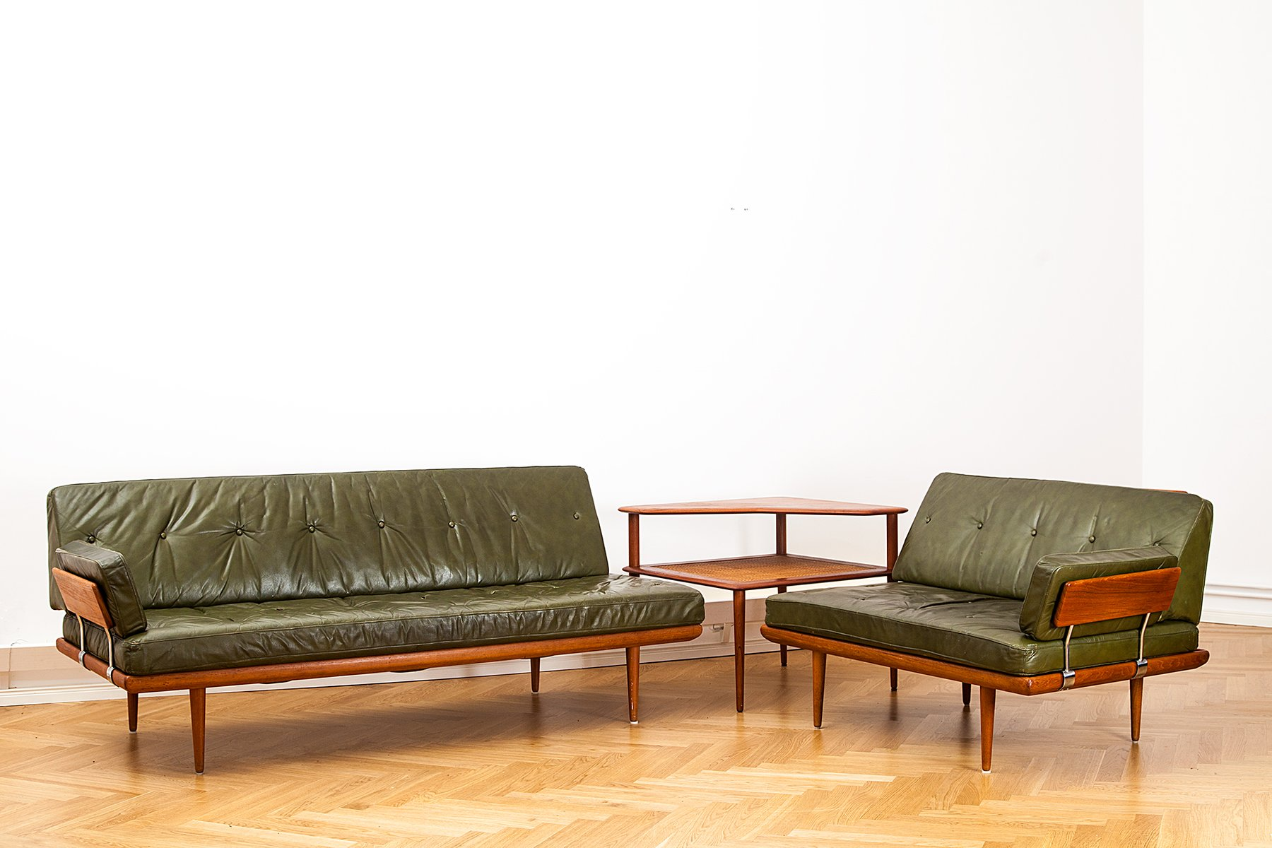 Danish MidCentury Minerva Leather Living Room Set by Peter Hvidt