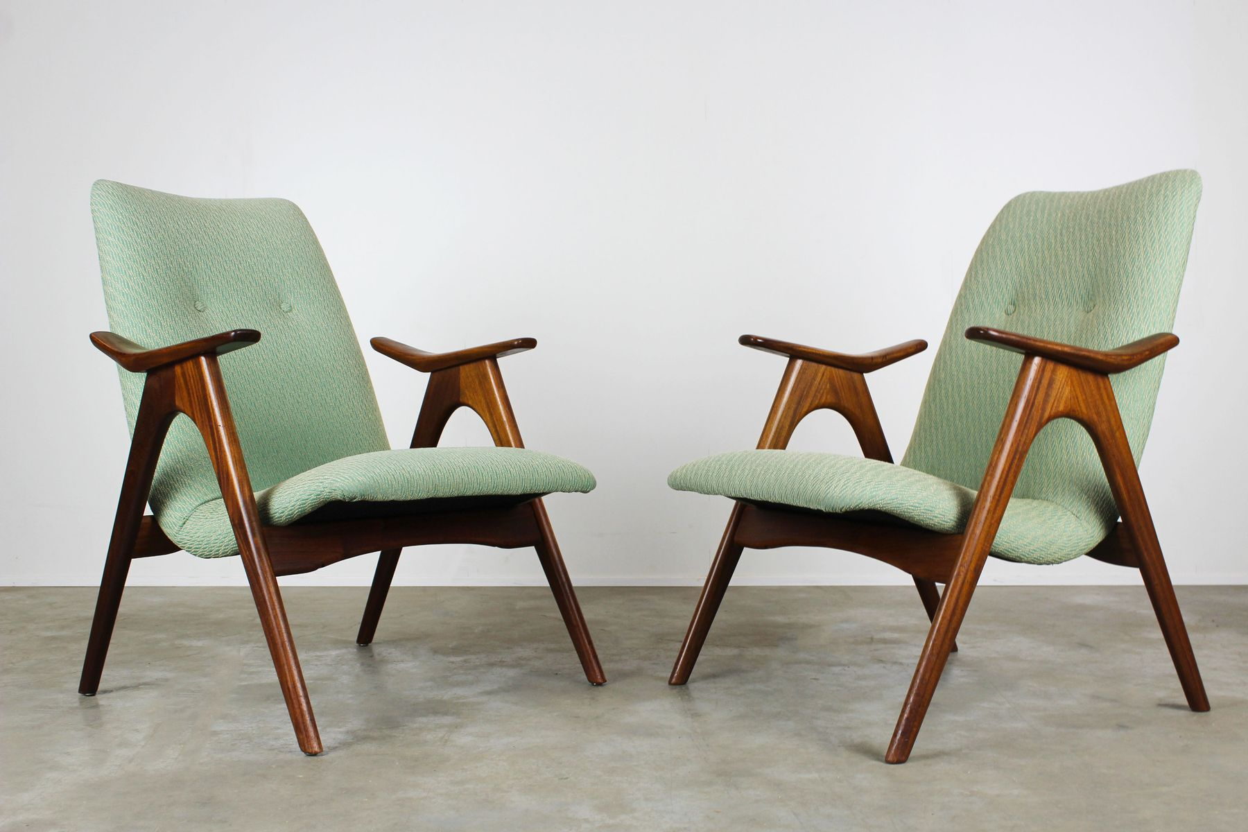 Vintage Green Chairs In Teak By Louis Van Teeffelen For Webe, 1960s, Set Of  2