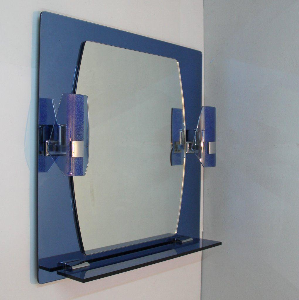 spiegel mit lampen und ablage 1970er bei pamono kaufen. Black Bedroom Furniture Sets. Home Design Ideas