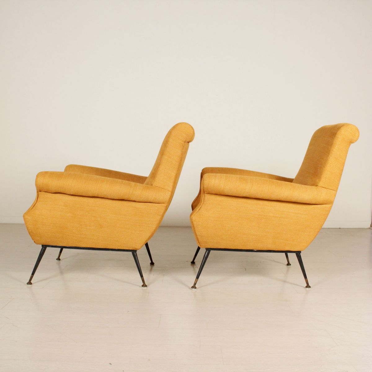 Mid Century Italian Fabric Lounge Chairs Set Of 2 For