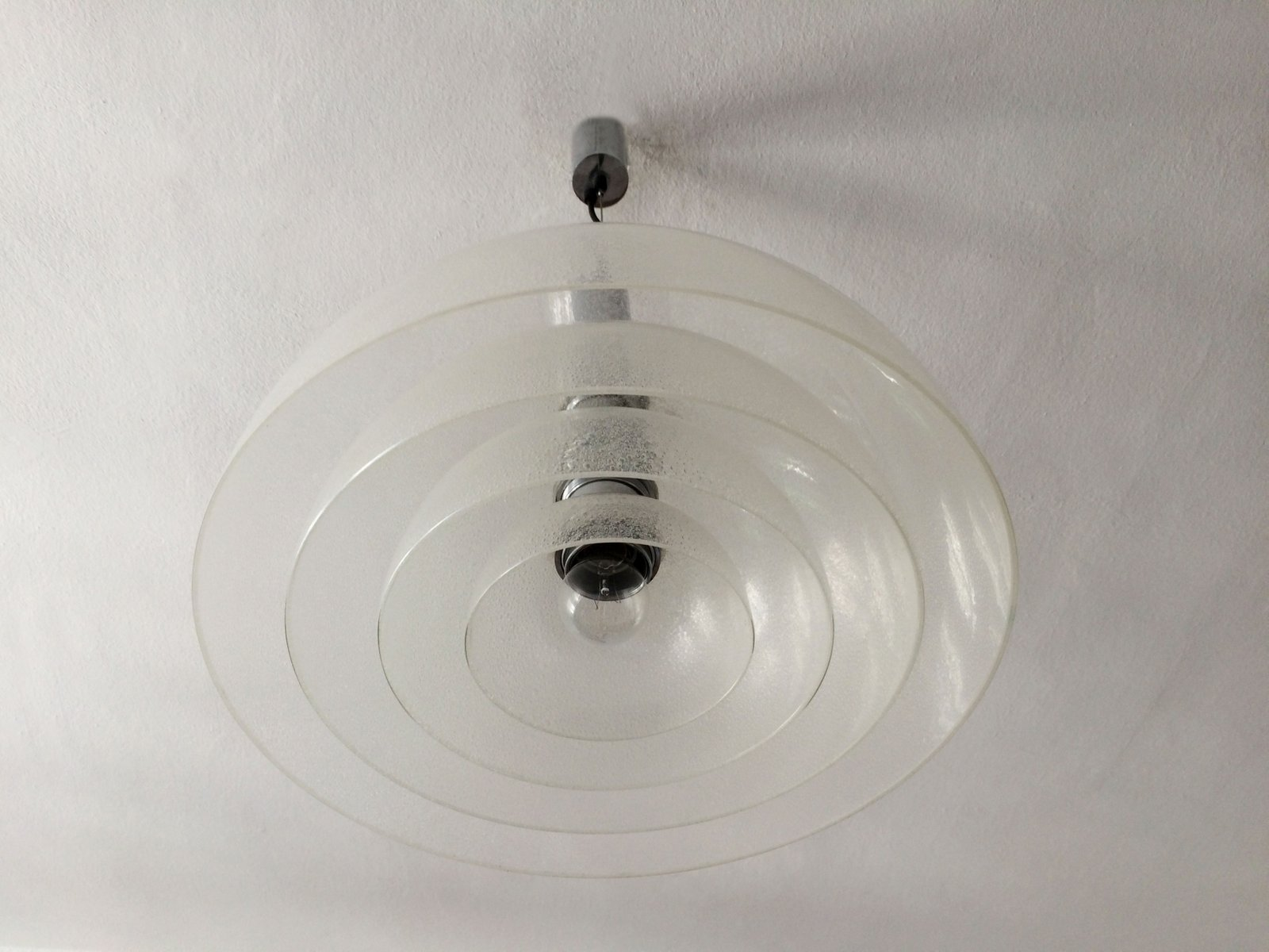 Large Mid Century Murano Glass Pendant Lamp By Carlo Nason For