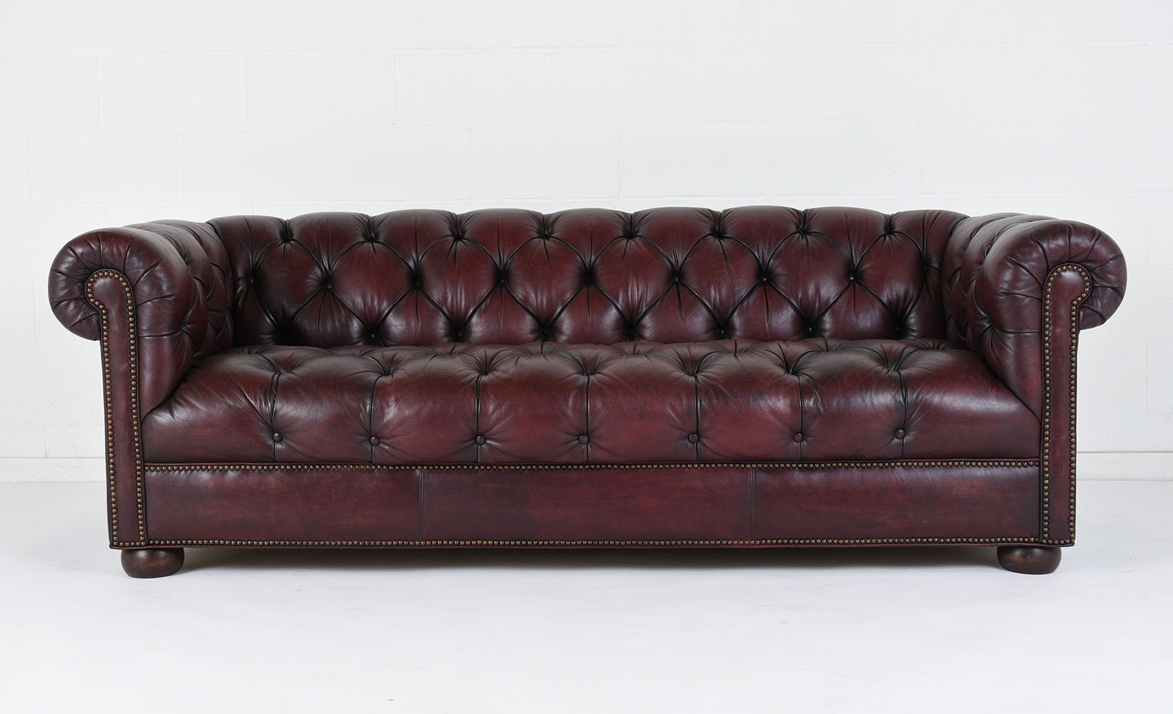 Vintage Tufted Leather Sofa 1970s