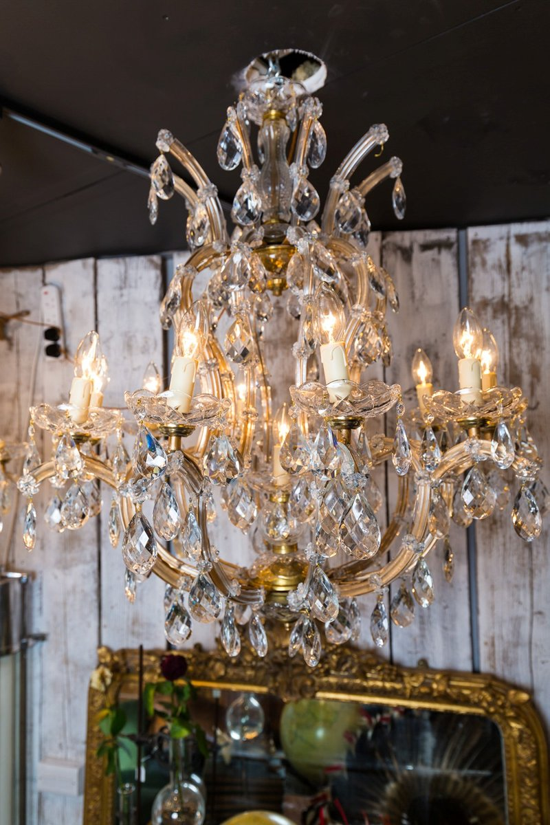 Italian maria theresa crystal chandeliers 1950s set of 2 for sale italian maria theresa crystal chandeliers 1950s set of 2 mozeypictures Images