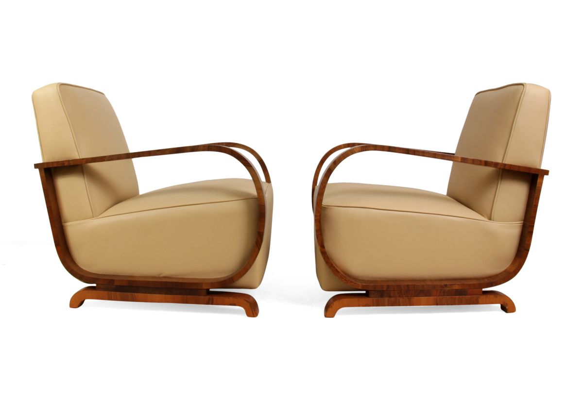 Art Deco Sessel Aus Nussholz Leder 1930er 2er Set Bei Pamono Kaufen