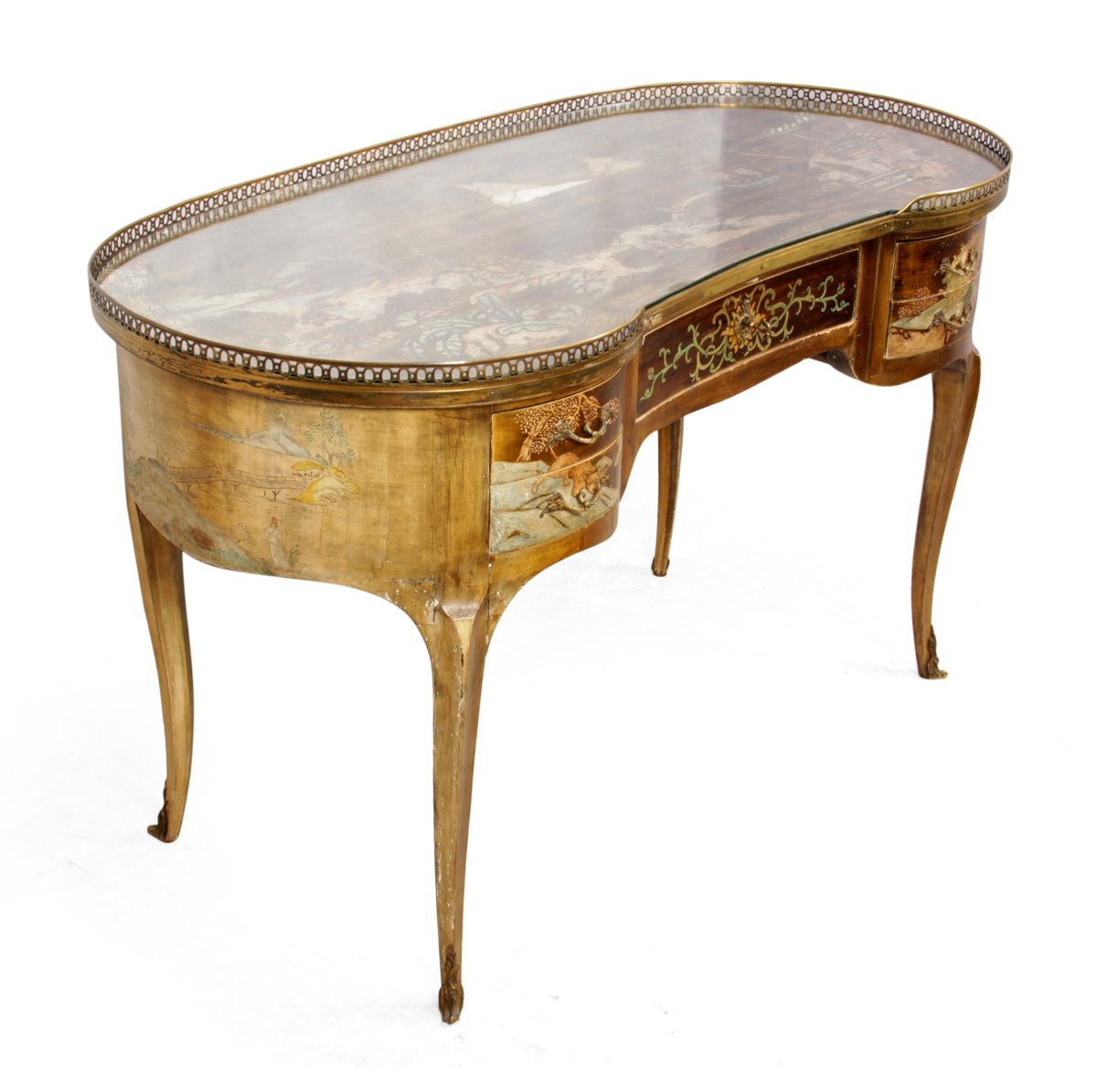- Antique French Chinoiserie Kidney Writing Desk, 1860s For Sale At Pamono