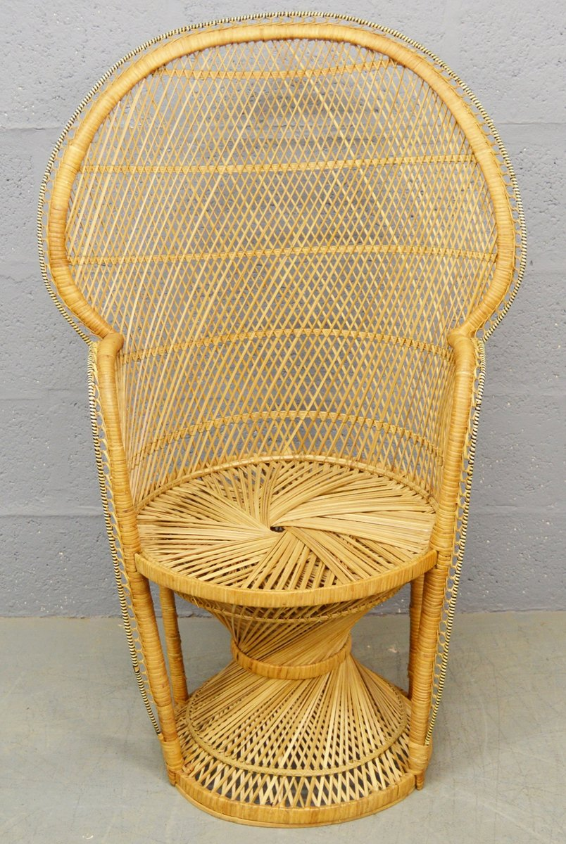 Mid Century Wicker Peacock Chair 1970s For Sale At Pamono