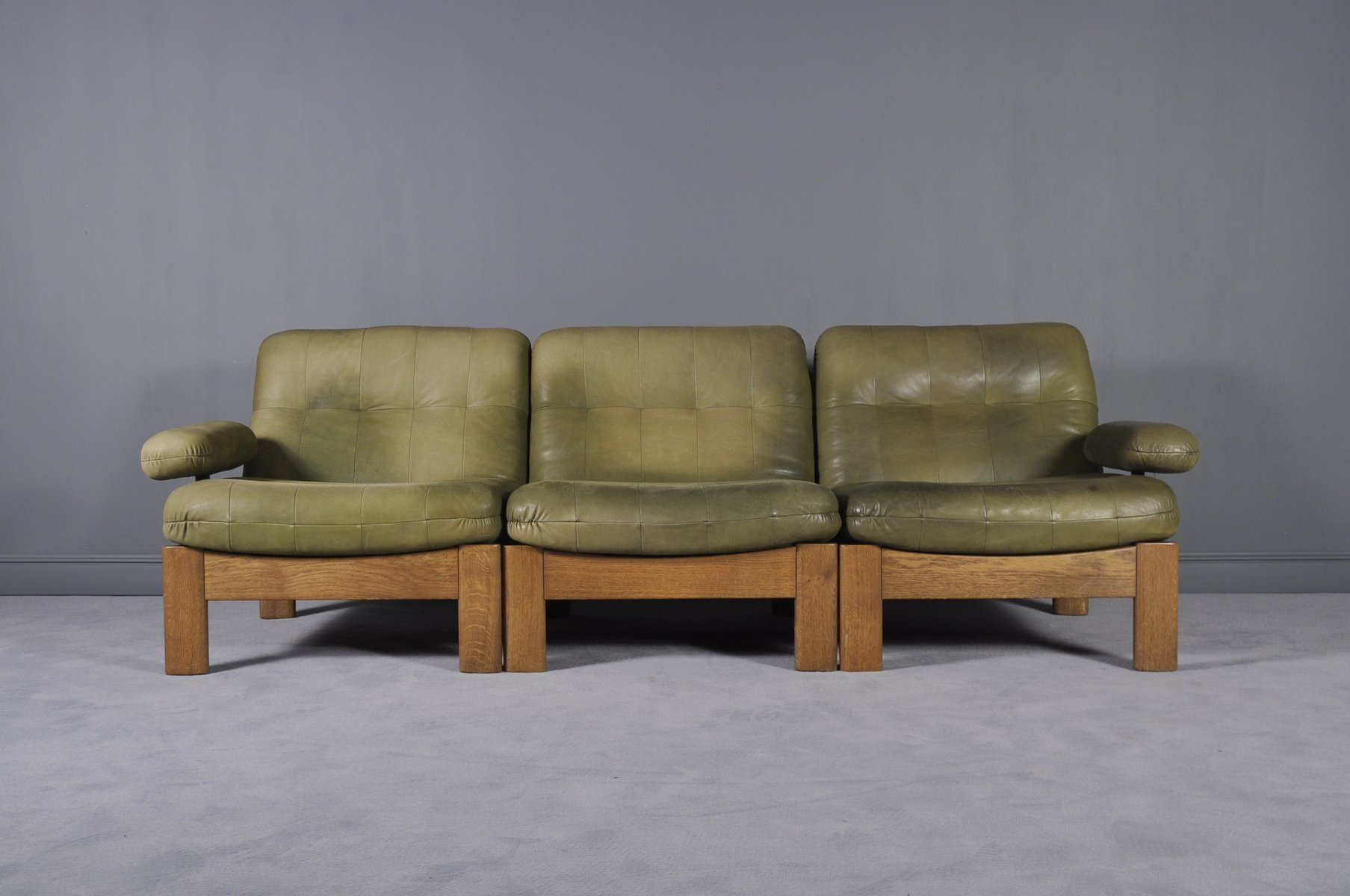 Sectional Green Leather Sofa From Leolux, 1970s