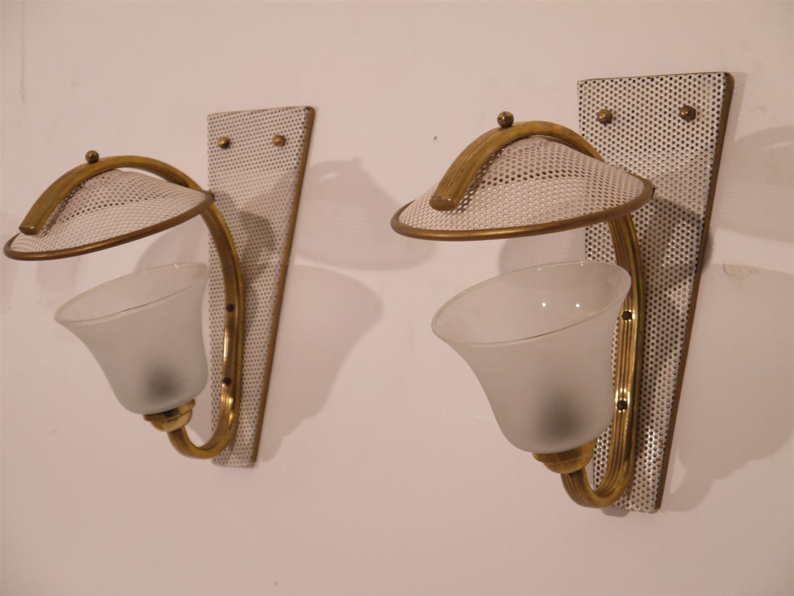 Vintage Wall Sconces In Brass And Perforated Metal, Set Of 2