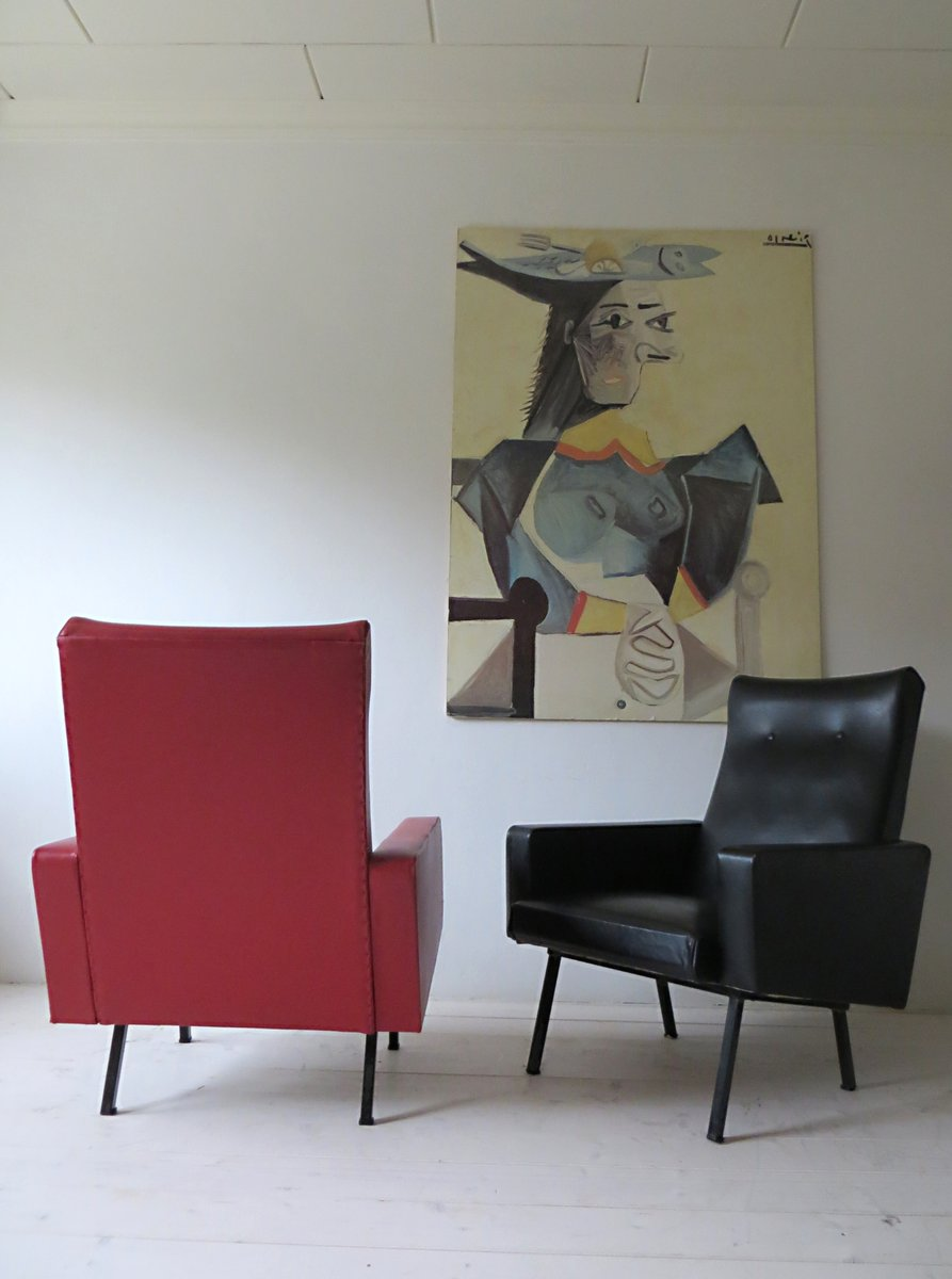 Vintage french red black lounge chairs 1950s set of 2 for Vintage parisian lounge