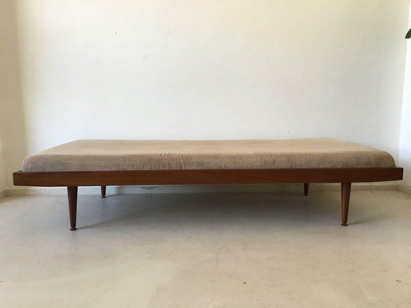 vintage brass teak daybed with mattress 1960s for sale at pamono. Black Bedroom Furniture Sets. Home Design Ideas