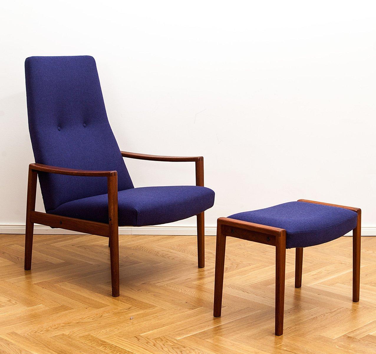 d nischer teak sessel ottomane von illum wikkels 1960er bei pamono kaufen. Black Bedroom Furniture Sets. Home Design Ideas