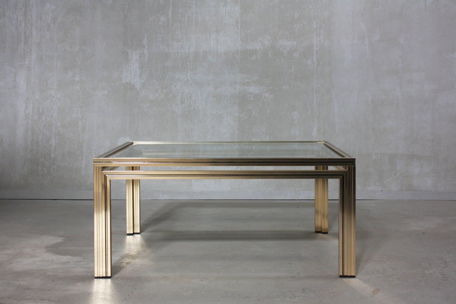 Table Basse Dorée Carrée par Pierre Vandel, France, 1970s en vente ...
