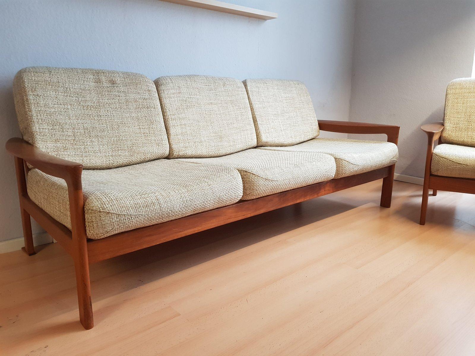 d nisches 3 sitzer sofa aus teak von sven ellekaer f r komfort 1960er bei pamono kaufen. Black Bedroom Furniture Sets. Home Design Ideas